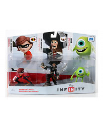 DISNEY INFINITY PAQUETE TRIPLE MIKE CAPITAN BARBOSA Y SRA INCREIBLE