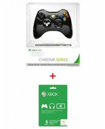 XBOX 360 WIRELESS CONTROLLER CHROME BLACK WITH XBOX LIVE 6 MONTHS
