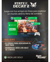 TARJETA XBOX LIVE 3 MESES GOLD CARD STATE OF DECAY 2
