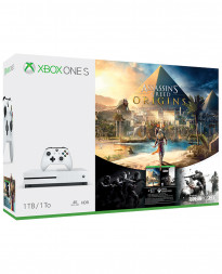 CONSOLA XBOX ONE S BLANCO 1TB CON ASSASSINS CREED ORIGINS Y RAINBOW SIX SIEGE