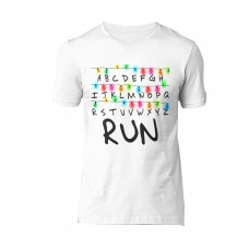 PLAYERA STRANGER THINGS RUN BLANCA GRANDE