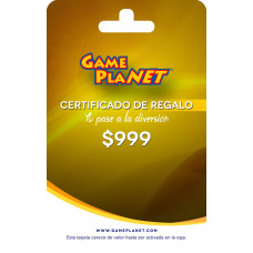 CERTIFICADO DE REGALO GAMEPLANET 999